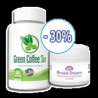 Combo hoàn hảo viên uống giảm cân Green Coffee Slim 2017 và kem bôi nở ngực Upsize